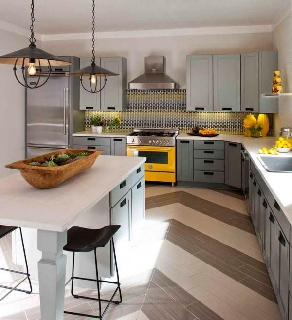 Wohnideen Kuche Eklektisch Grau Gelb Holz Schmiedeeisen