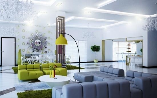 Wohnideen Wohnzimmer Modern Einbauschraenke Im Wohnraum Mit L ... Wohnideen Wohnzimmer Modern