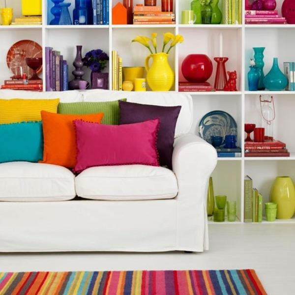 Wohnzimmer Wohnideen mit Deko in krftigen Farben