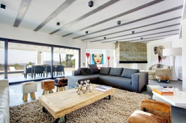 moderne wohnzimmer neutrale farben grau holz wandverkleidung, Mobel ideea