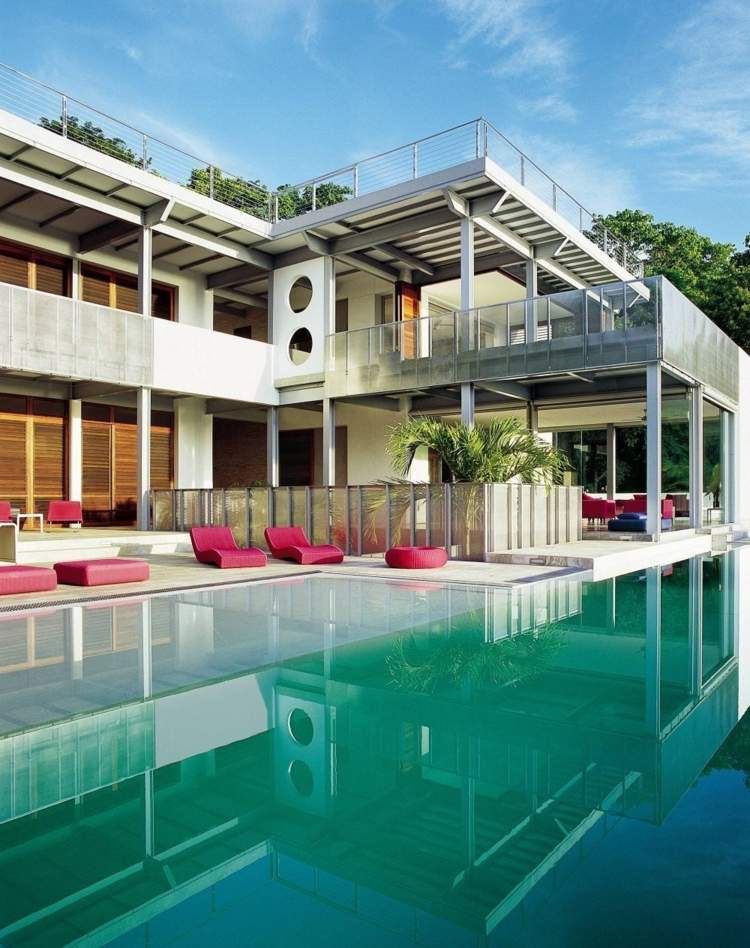 Pool Im Garten Costa Rica Idee Chaiselonge Pink Haus Design