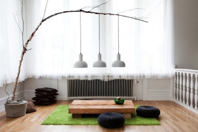 Holz Lampen selber machen  Deko mit Zweigen im Naturlook