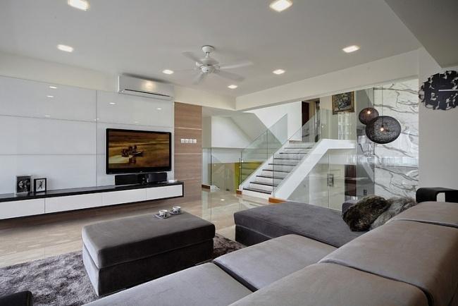 wohnzimmer gestalten ideen wei hochglanz tv stander graue mobel