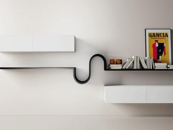 minimalistisches Wandregal Design Wave von Novamobili