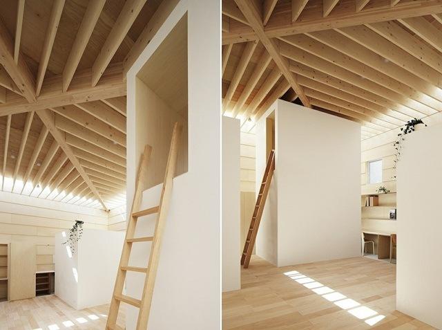 Einfamilienhaus mit Holzdecke spielt mit Licht und Schatten