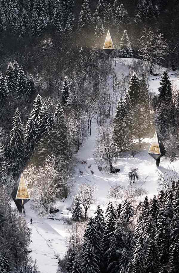 Umweltfreundliches Haus im Wald von Konrad Wjcik 3d Visualisierungen
