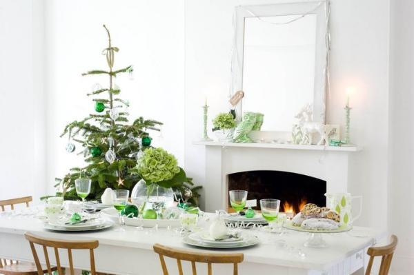 Weihnachtsdeko in Wei und Grn als schne Farbkombi