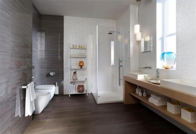 badezimmer design holz fussboden stein dusche glas modern - boisholz - Badezimmer Fliesen Holzoptik Grau