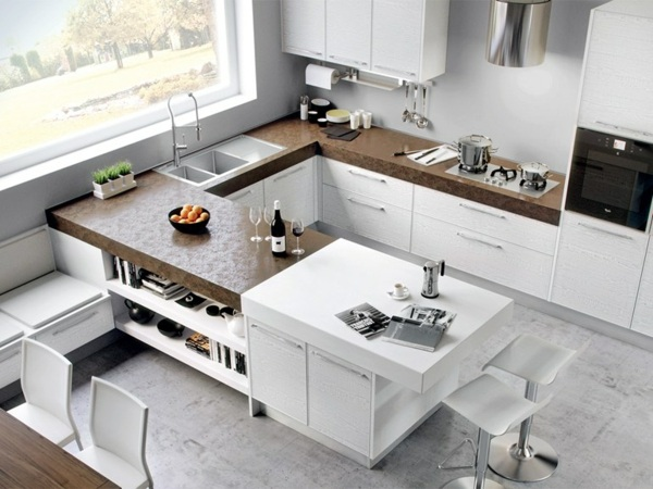 moderne kuche kochinsel holz optik beige hochglanz fronten - boisholz, Kuchen