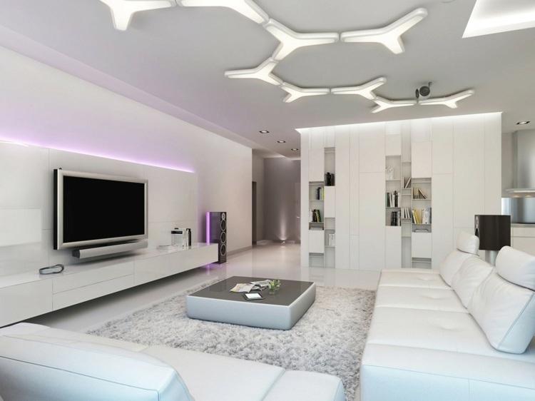 Moderne Gestaltung Der Wohnzimmer Decke Mit Paneelen Im ... Moderne Wohnzimmer Decken