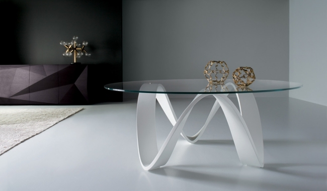 Usona Couchtisch Design Ideen Glas Weiss Gebogen Oval