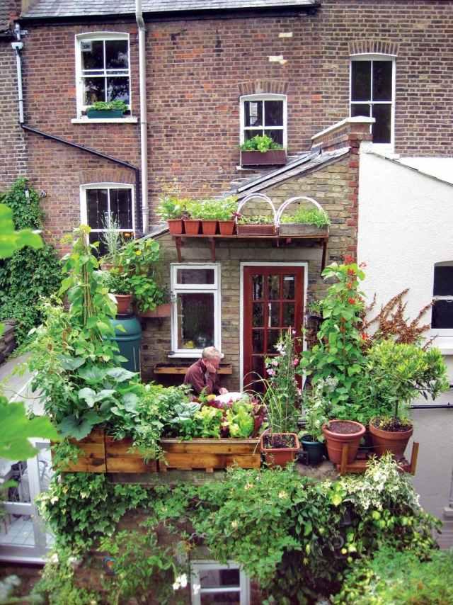 Design Kleinen Garten Terrasse Beleuchtung Zaun Kletterpflanzen ...
