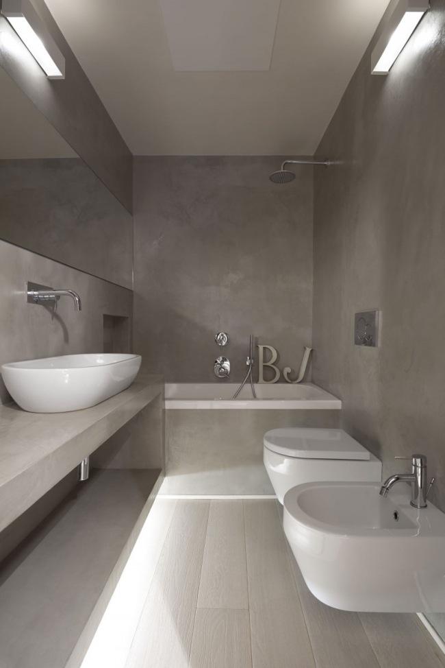 Kleines Badezimmer Modern Unterbauleuchten Weisse Badmobel