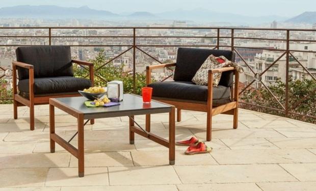 tisch glas stein » terrassenholz, Gartengerate ideen