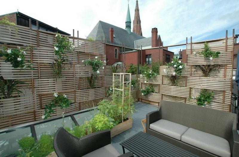 bambus als balkon sichtschutz holz blumenkasten pflanzen - boisholz,