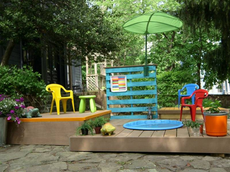gartengestaltung mit pool und kinderspielecke - boisholz, Gartengerate ideen