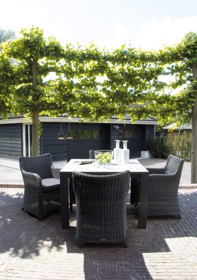 Rattan Sitzgruppe Im Garten Terrasse Sichtschutz Ideen Mit ... Tipps Sichtschutz Garten Privatsphare