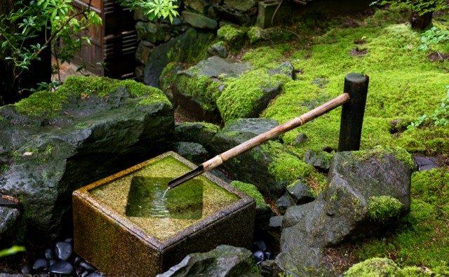 ... Rohr Stein Garten Teich Moos Brunnen Wasserpflanzen Wasserspiele Im  Garten Ein Brunnen Aus Bambus Selber Bauen ...