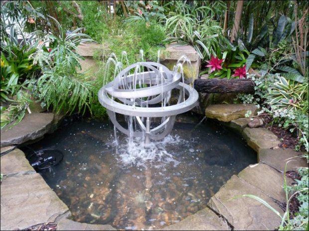 gartengestaltung pflege gartenbrunnen aus edelstahl ideen l,