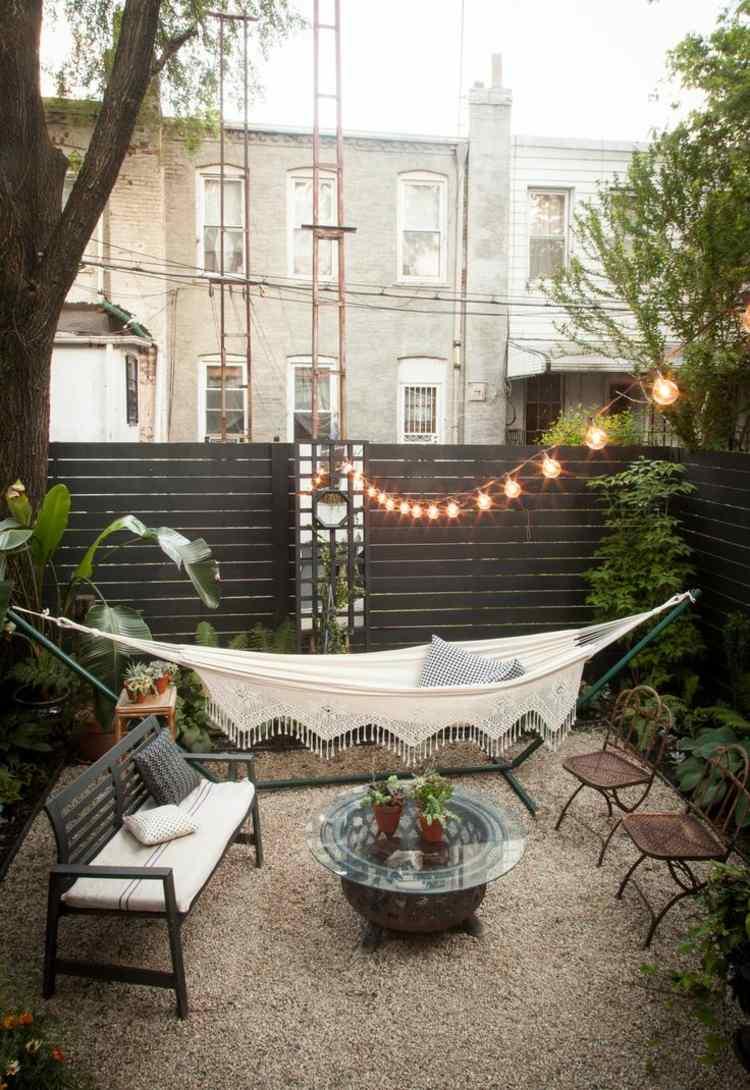 dekoideen fur terrasse haengematte kies bodenbelag lichterkette, Hause und garten