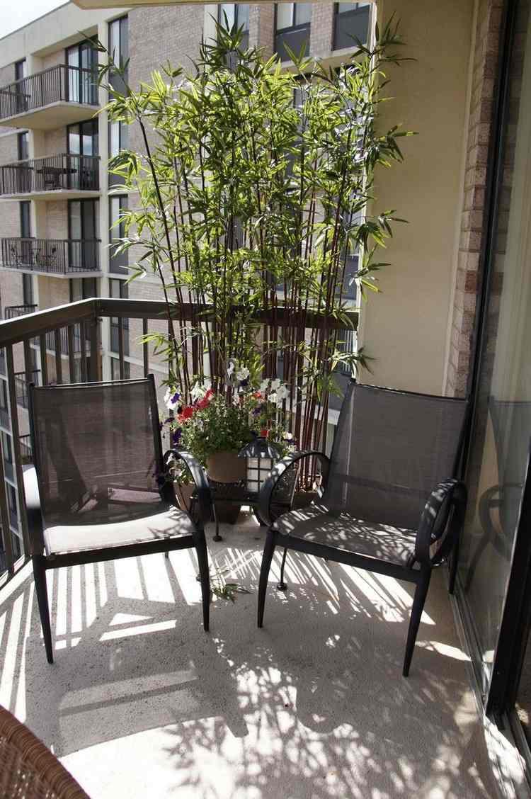 sichtschutz balkon bambuspflanzen schwarze stuehle sichtschutz fur balkon funktionale und stilvolle ideen