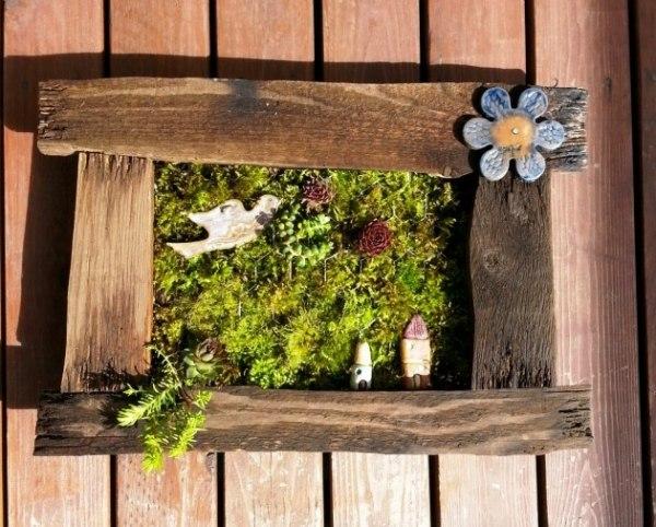 Selbermachen Garten Deko Bild Aus Moos Kleinpflanzen Blumchen