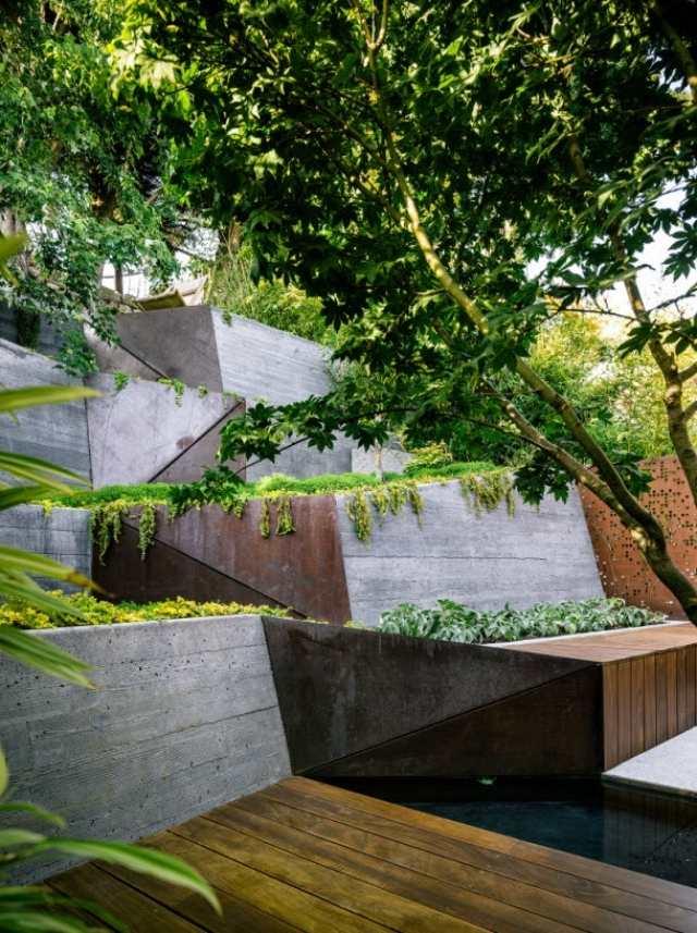 moderne gartengestaltung in hanglage » sichtschutz, Terrassen ideen