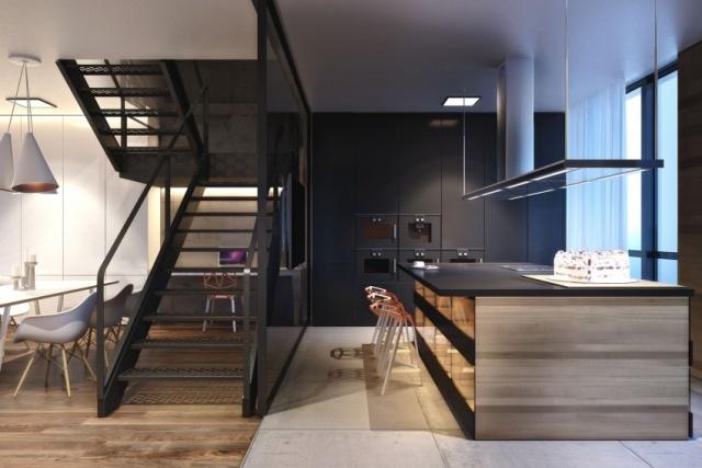 Eine moderne Wohnung wo Beton Holz und Metall gemtlich