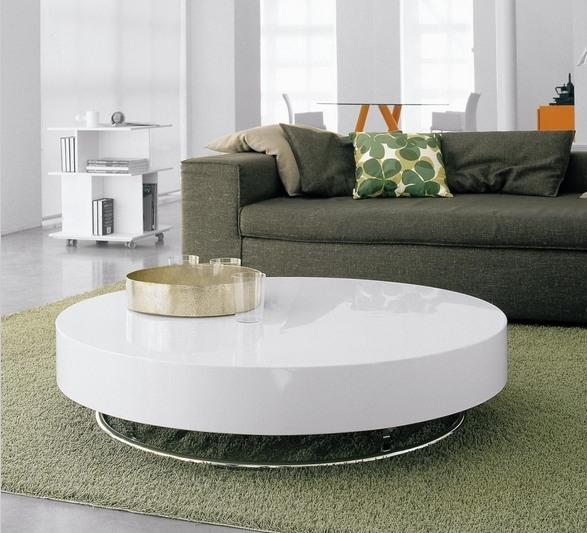 Design Couchtisch Rund Hochglanz Wei Olivengrun Sofa