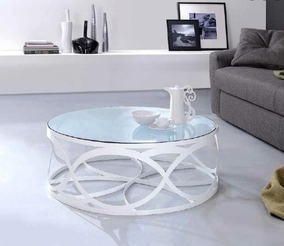 design couchtisch rund weiss metall glasplatte wohnzimmer
