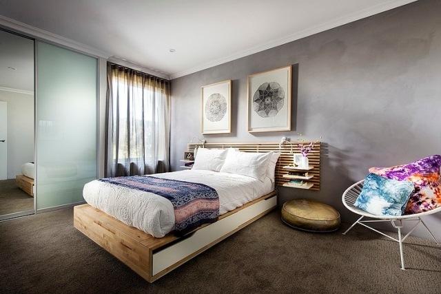 Schlafzimmer modern grau  Wandfarben Schlafzimmer Ideen Bett Wandfarbe Grau Teppichboden ...