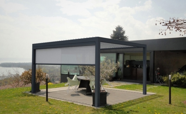 pergola mit aluminium lamellen » terrassenholz, Terrassen ideen