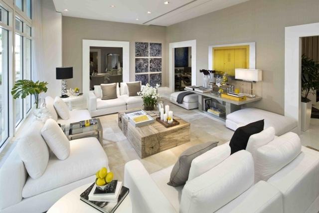 modernes wohnzimmer hellgraue wande wei e mobel gelbe akzente, Mobel ideea