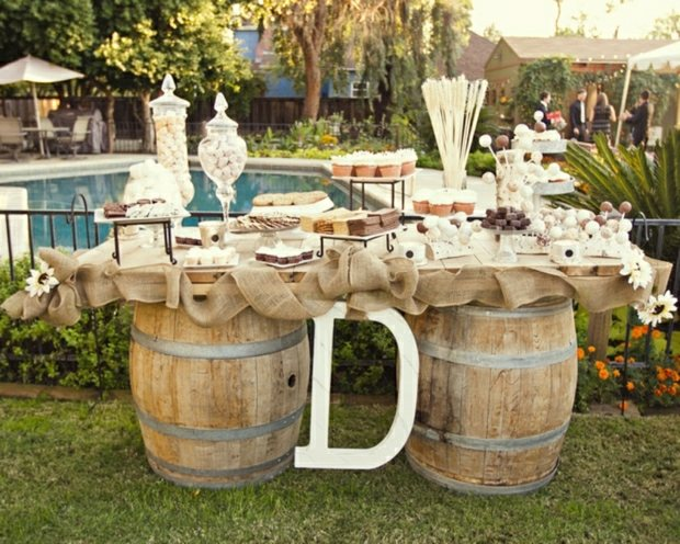 Weinfass Su Igkeiten Buffet Deko Ideen Hochzeit Garten Feiern