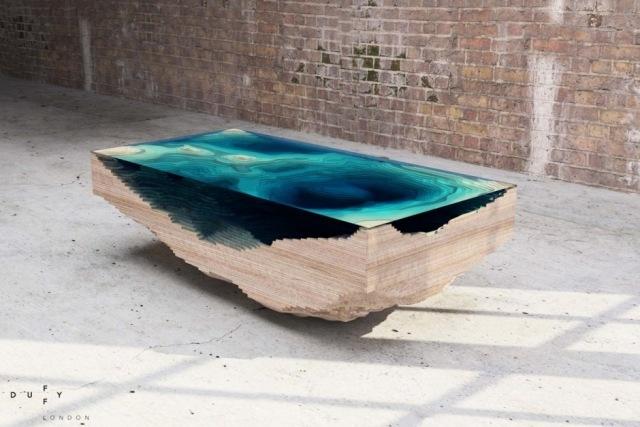 Ein DesignerCouchtisch von den Tiefen der See inspiriert