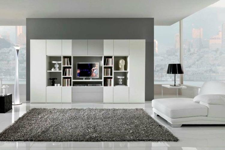 einrichten wohnzimmer einbauwand grau weiss sofa minimalistisch