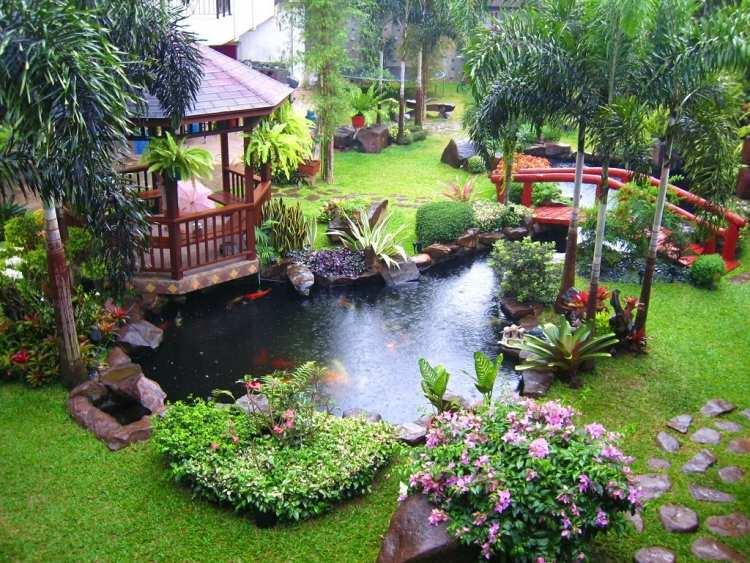 Garten Ideen Rasen Teich Exotisch Bali Tropisch Blumen Pflanzen
