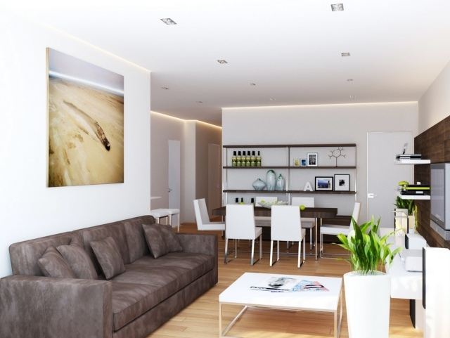 ideen wohnzimmer essbereich braun weiss kombination modern - boisholz - Klassik Wohnzimmer Braun Weiss