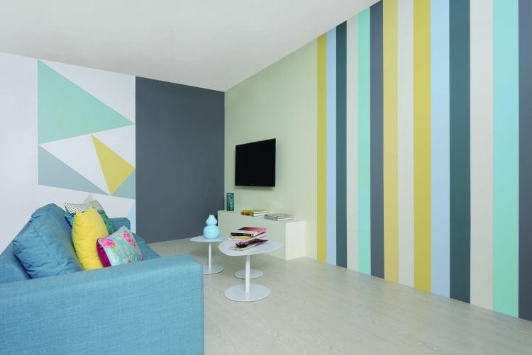 wand streichen ideen streifen wohnzimmer frische farben gelb gruen