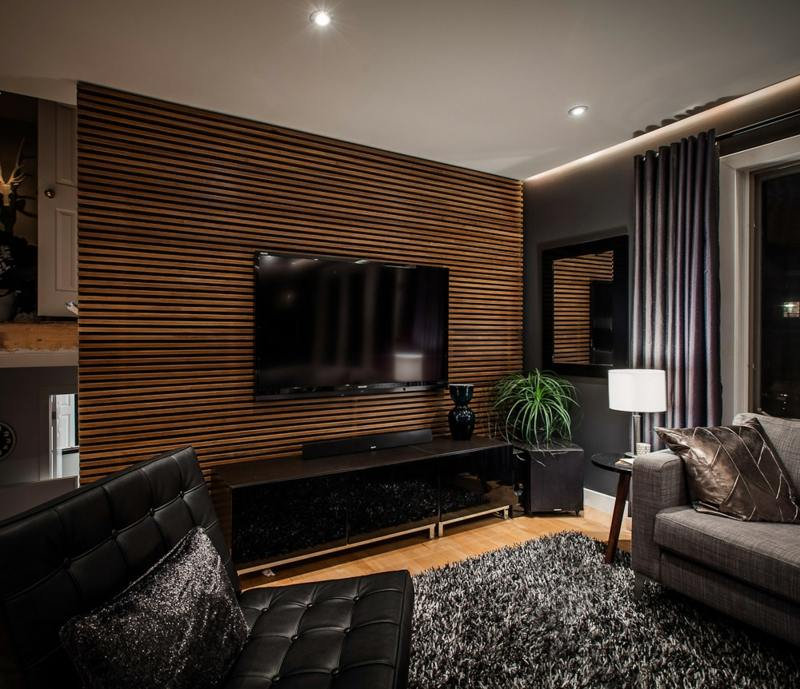 wandfarbe braun holz wohnwand fernseher hochglanz schwarz lowboard ... - Wohnzimmer Wandfarbe Braun