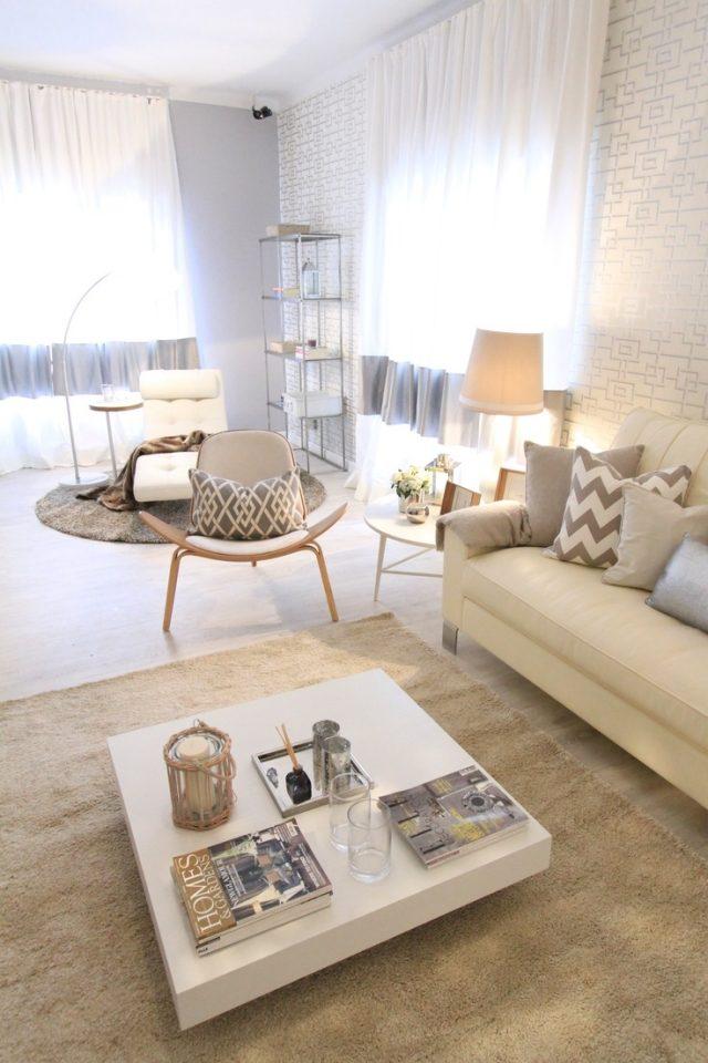 Ideen zum Wohnzimmer einrichten in neutralen Farben