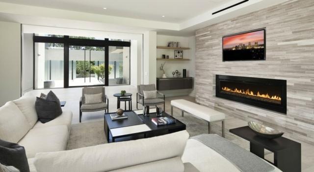 Einrichten Wei Es Sofa Natursteinwand Moderne Mobel