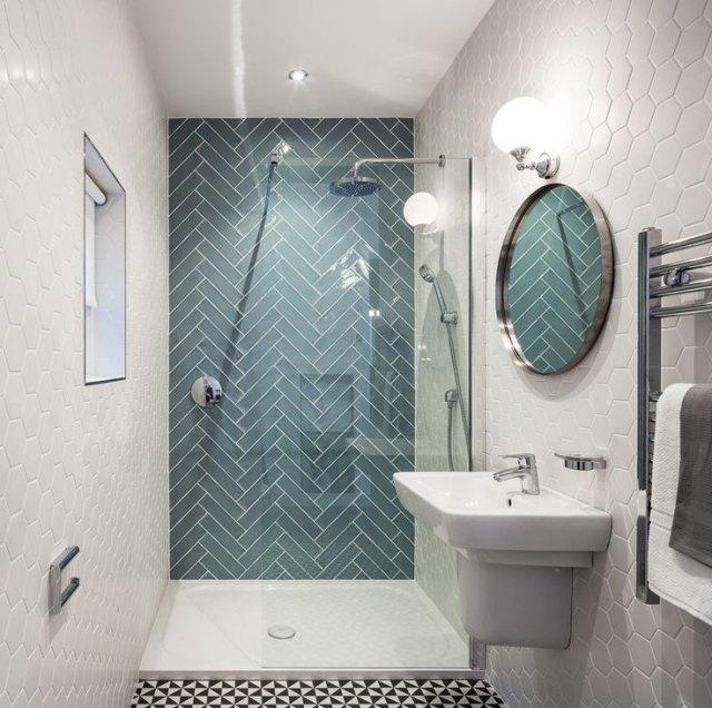 Geometrische Badezimmer Fliesen Muster fr urbanes Flair