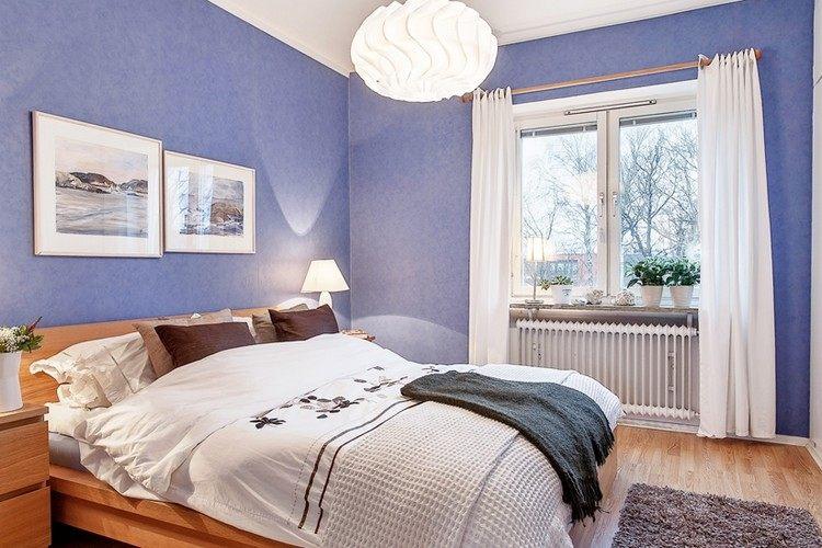 beruhigende farben im schlafzimmer  wandfarbe taubenblau