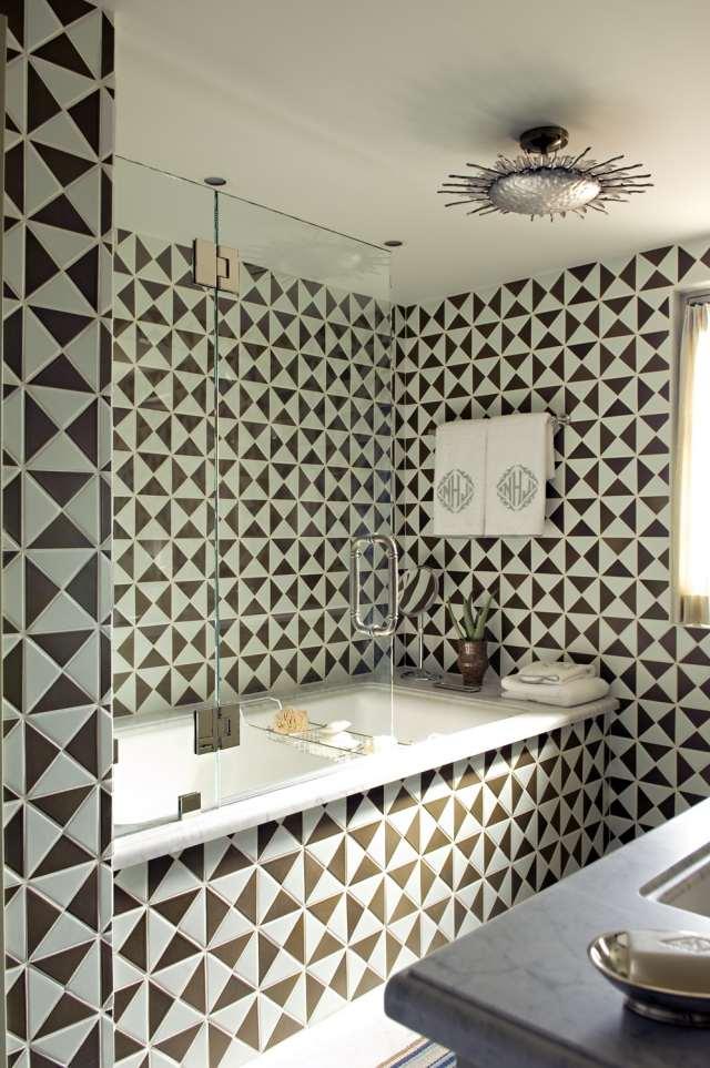 klick vinyl badezimmer | geometrische badezimmer fliesen