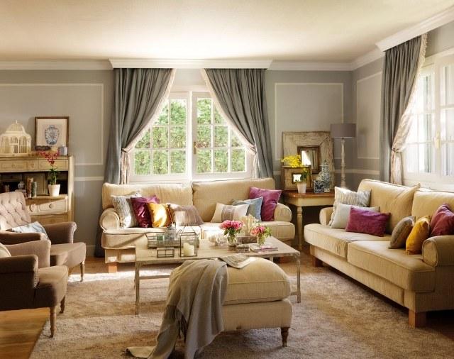 wohnzimmer einrichten ideen wandgestaltung neutrale farben - boisholz - Wohnzimmer Farben Landhausstil