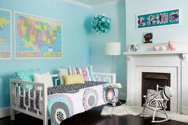 kinderzimmer jugendzimmer wandfarbe hellblau aqua zimmer. Black Bedroom Furniture Sets. Home Design Ideas