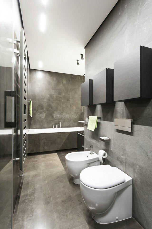 Modernes Badezimmer Materialien Wande Grau Nuancen Stylisch Beleuchtet