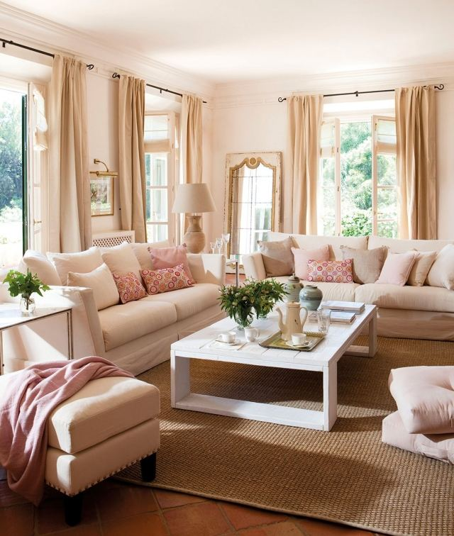 wand farbe streichen idee wohnzimmer rosa pink - boisholz - Wohnzimmer Ideen Rosa