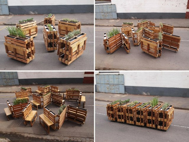 holz paletten mobel selber bauen ideen sitzbank pflanzkasten,